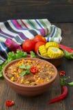 Chili con carne Traditioneller mexikanischer Teller Lizenzfreies Stockfoto