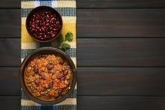 Chili Con Carne z cynaderki fasolami Fotografia Royalty Free