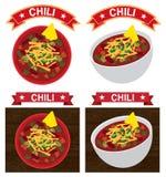 Chili con carnebunkeillustration royaltyfri illustrationer