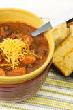 Chili and Corn Bread Royalty Free Stock Photography