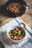 Chili corn carne on wood table royalty free stock photos