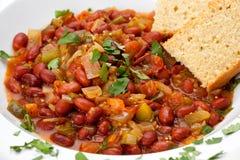 Chili with Cornbread Stock Photo