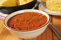 Chili and cornbread Royalty Free Stock Images