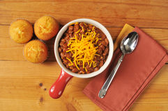 Chili and cornbread Royalty Free Stock Photos