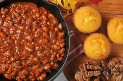 Chili and cornbread Stock Image