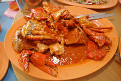 Chili crab on the plate. S Stock Image