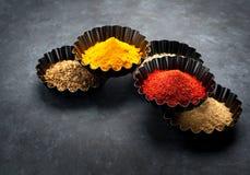 Chili currykryddor i bunkar Arkivfoton