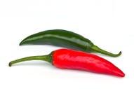 chili czerwień świeża zielona Obrazy Royalty Free