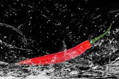 chili czerwona chełbotania woda Zdjęcie Royalty Free