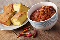 Chili dish with corn bread Stock Photography