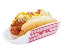 Chili dog. Hot dog with chili, raw onion and sauce on white Stock Photo