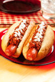 Chili dog with Onions Royalty Free Stock Photo