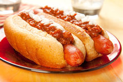 Chili dog with Onions Stock Photos