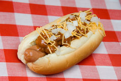 Chili dog on picnic table Stock Photography
