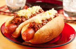 Chili Dog with Sauerkraut. Perfect for the big game,  picnic, party or anytime, chili dogs with sauerkraut Royalty Free Stock Photos