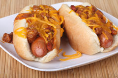 Chili Dogs Royalty Free Stock Photos