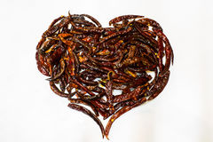 Chili dried. Heart of pepper dried is fries Royalty Free Stock Photo