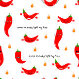 Chili emoji seamless pattern with handwritten quote Come on baby light my fire. Vector illustration. Chili emoji seamless pattern with handwritten quote Come on Royalty Free Stock Images