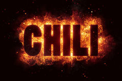 Chili fire text flame flames burn explosion hot spicy. Pepper Royalty Free Stock Images