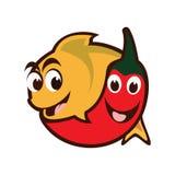 Chili Fish. Youthful chili and fish illustration Stock Photography