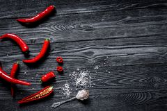 Chili food with red pepper on dark background top view mockup. Chili food with red pepper on dark wooden table background top view mockup Stock Photos