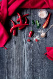 Chili food with red pepper on dark background top view mockup Royalty Free Stock Image