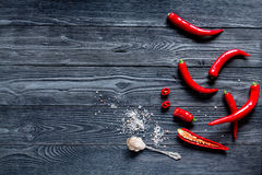 Chili food with red pepper on dark background top view mockup. Chili food with red pepper on dark wooden table background top view mockup Stock Image