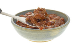 Chili on fork with bowl in background Stock Images