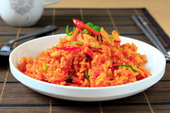 Chili fried rice. Korean style chili fried rice with chicken and spring onion Stock Photography