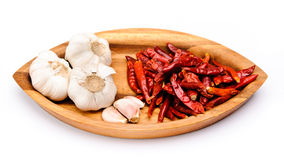 Chili fruit and garlic Stock Images