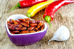Chili fruits, fresh and dried Stock Photo