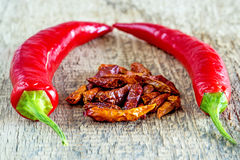 Chili fruits, fresh and dried Royalty Free Stock Photo