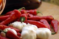Chili and galic stock image