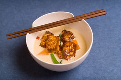 Chili and Ginger Tofu soup Stock Photography