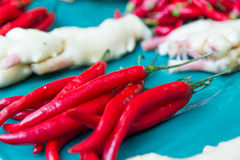 Chili and ginger at traditional market in Taiwan Stock Photo