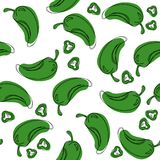 Chili green pepper seamless pattern. vector illustration