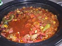 Chili Homemade con las habas fotografía de archivo