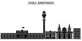 Chili horisont för staden för Santiagoarkitekturvektorn, loppcityscape med gränsmärken, byggnader, isolerade på sikt vektor illustrationer