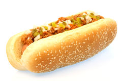 Chili hot dog Stock Images