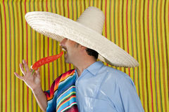 Chili hot pepper Mexican man typical poncho serape Stock Photo