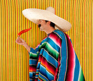 Chili hot pepper Mexican man typical poncho serape Stock Photography