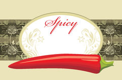 Chili hot pepper. Spicy. Label for design Royalty Free Stock Image