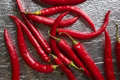 Chili hot peppers in red pattern over silver Royalty Free Stock Images