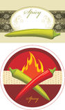 Chili hot red and green peppers. Labels for design Royalty Free Stock Images