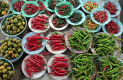 Chili i fasole przy rynkiem Fotografia Stock