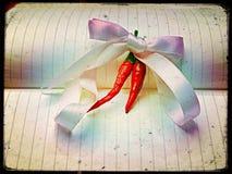 Chili i flugaband Arkivfoto