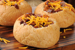 Chili In Bread Bowls Royalty Free Stock Photos