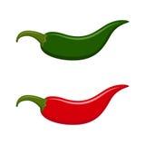 Chili Jalapeno rojo y verde caliente Imagen de archivo