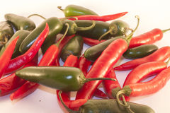 Chili and jalapenos. Red chili and green jalapenos, on isolated white background Stock Image