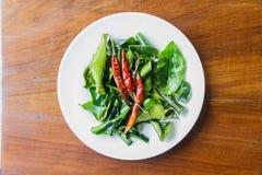 Chili and Kaffir lime leaves Stock Image